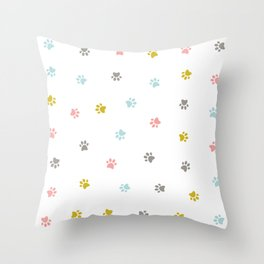 Cat feet pattern Throw Pillow