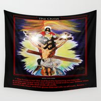 christ Wall Tapestries featuring THE CHRIST by KEVIN CURTIS BARR'S ART OF FAMOUS FACES