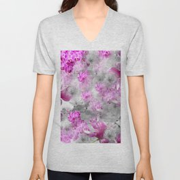 CHERRY BLOSSOMS ORCHIDS AND MAGNOLIA IMPRESSIONS IN PINK GRAY AND WHITE Unisex V-Neck