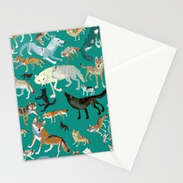 Wolves of the World Green pattern Stationery Cards