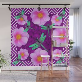 Aqua Dragonflies Pink Roses Purple Abstract Pattern Art Wall Mural