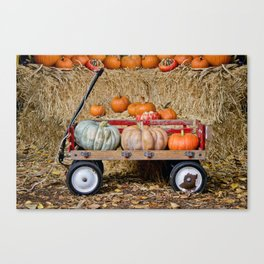 Wagon with Pumpkins Canvas Print