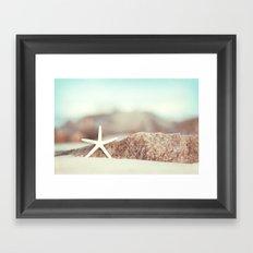 Starfish Beach Photography, Aqua Coastal Seashore Photo Framed Art Print
