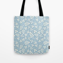 Cream on Blue Assorted Leaf Silhouette Pattern Tote Bag