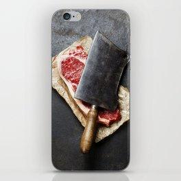 vintage cleaver and raw beef steak on dark background iPhone Skin