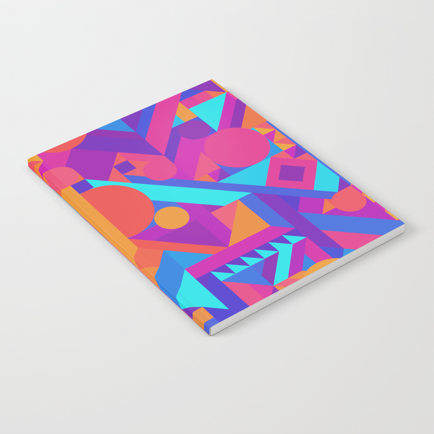 Geometry shapes pattern print warm cool color scheme notebook