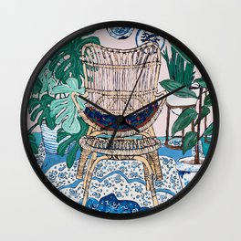 Wicker Chair and Delft Plates in Jungle Room Wall Clock