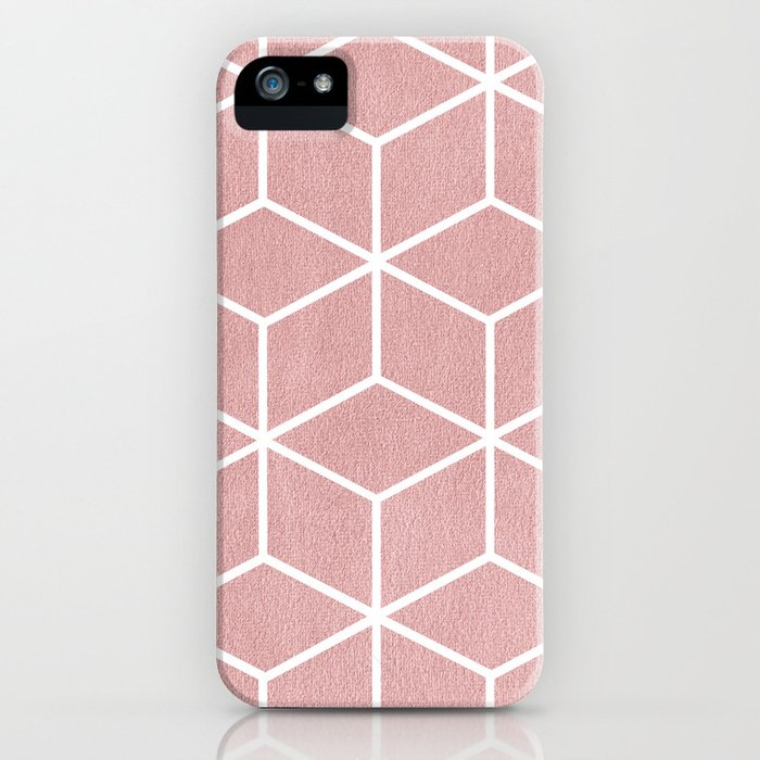 Blush Pink and White - Geometric Textured Cube Design iPhone Case