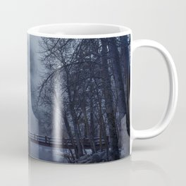 Swinging Bridge over Merced River in Yosemite National Park in the blue of the Early morning Coffee Mug