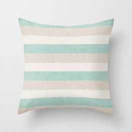 aqua and sand stripes Throw Pillow