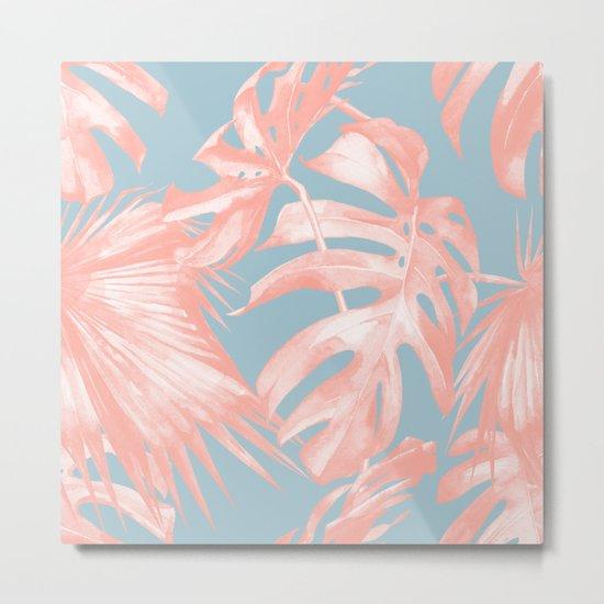Island Love Coral Pink on Pale Blue Metal Print