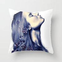 hair Throw Pillows featuring Bloom by KatePowellArt