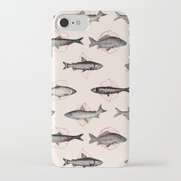 Fishes In Geometrics (Red) iPhone Case