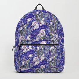 White Crocuses Spring Flowers Botanical Floral Pattern Ultramarine Blue Backpack