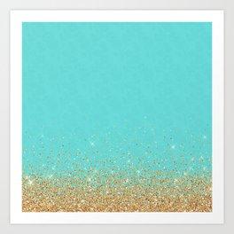 Sparkling gold glitter confetti on aqua teal damask background Art Print