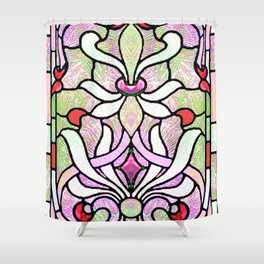 Delicate Stained-glass in Victorian Pink Detail Shower Curtain