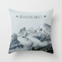 Adventure Awaits - Mountain landscape photo, photography quote, mountain climbing Throw Pillow