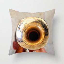 Blowing Jazz On A Rainy Day Throw Pillow