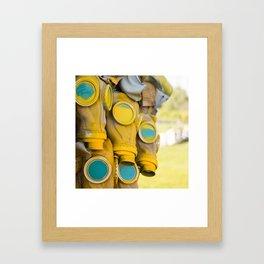 Yellow gas mask Framed Art Print