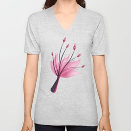 Pink Abstract Water Lily Flower Unisex V-Neck