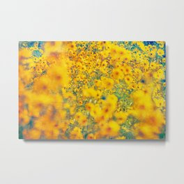 Painterly Yellow Sunflower Botanical with Abstract Elements Metal Print