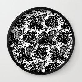 Pegasus Pattern Black-White Wall Clock