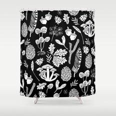 Linocut minimal botanical boho feathers nature inspired scandi black and white art Shower Curtain