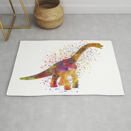 Brachiosaurus dinosaur in watercolor Rug