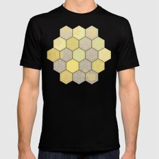 Lemon & Grey Honeycomb Mens Fitted Tee MEDIUM Black