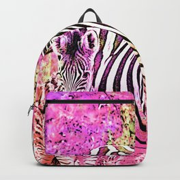 Crazy Zebras Artsy Mixed Media Art Backpack