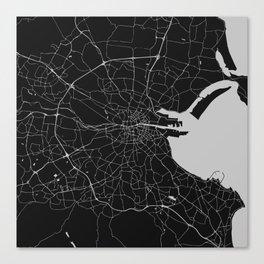 Black on Light Gray Dublin Street Map Canvas Print