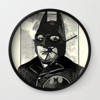 bat man Wall Clocks featuring BAT MAN by DIVIDUS