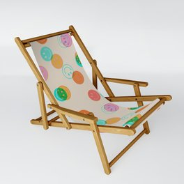 Smiley Face Stamp Print Sling Chair