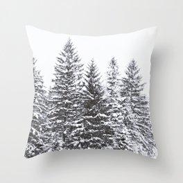 BLACK WINTER TREES Throw Pillow