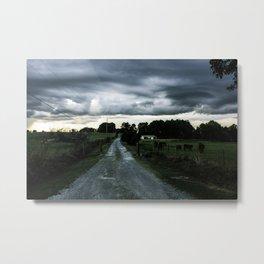 Dirt Road Night Drive Metal Print