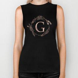 Letter G Rose Gold Pink Initial Monogram Biker Tank