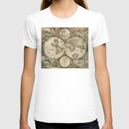 1689 Map of the World by Gerard van Schagen T-shirt