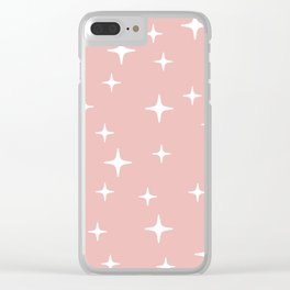 Mid Century Modern Star Pattern 443 Dusty Rose Clear iPhone Case