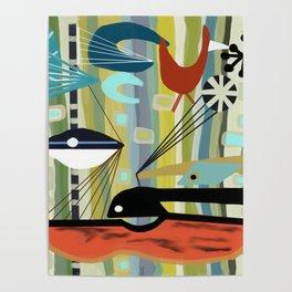 Mid Century Modern Fish Art Poster