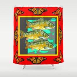 MONARCH BUTTERFLIES YELLOW-RED FISH VIGNETTE Shower Curtain