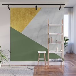Carrara marble with gold and Pantone Kale color Wall Mural