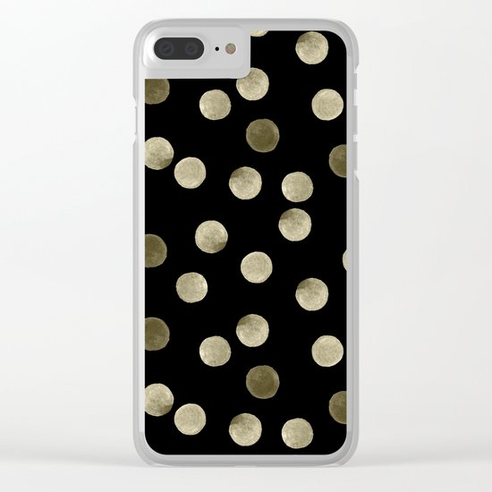 Watercolor . Olive green polka dots on black . Clear iPhone Case