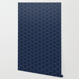Japanese Blue Wave Seigaiha Indigo Super Moon Pattern Wallpaper