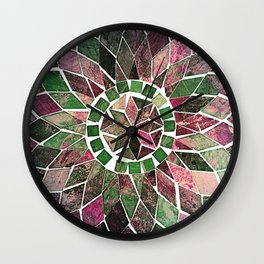 Pink & Green Stone Flower Wall Clock