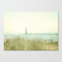 Two Boats and a Lighthouse Canvas Print