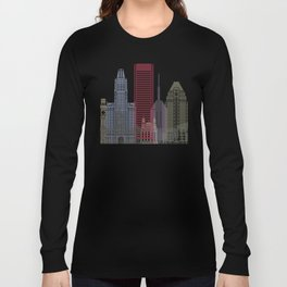 Baltimore skyline poster Long Sleeve T-shirt