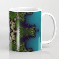 hexagon Mugs featuring Fractal Hexagon by Harvey Warwick