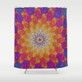 Rainbow Fractal Mandala Shower Curtain