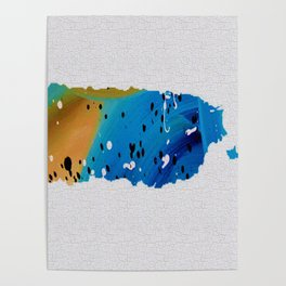 Colorful Art Puerto Rico Map Blue and Brown Poster