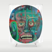 james bond Shower Curtains featuring James by Noah Zark